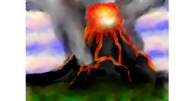 Volcano drawing by Sirak Fish
