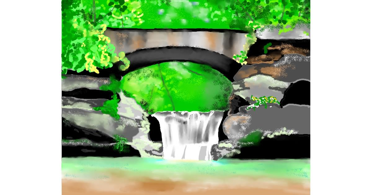 Waterfall drawing by Cec