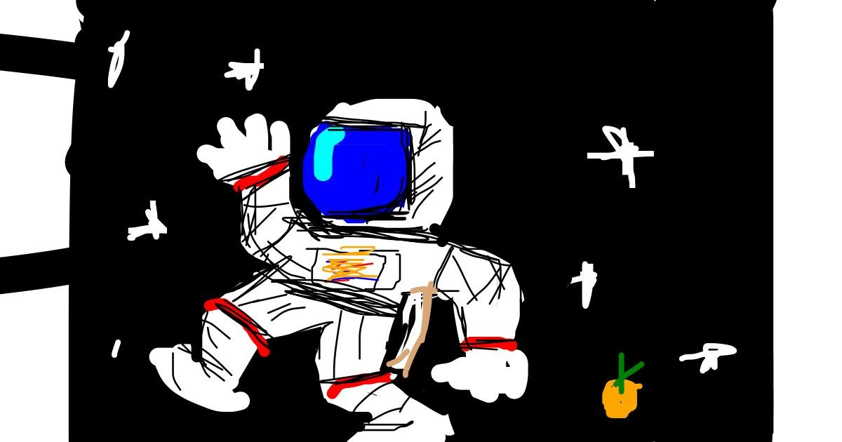 Astronaut drawing by Orange