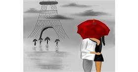 Drawing of Umbrella by Mitzi