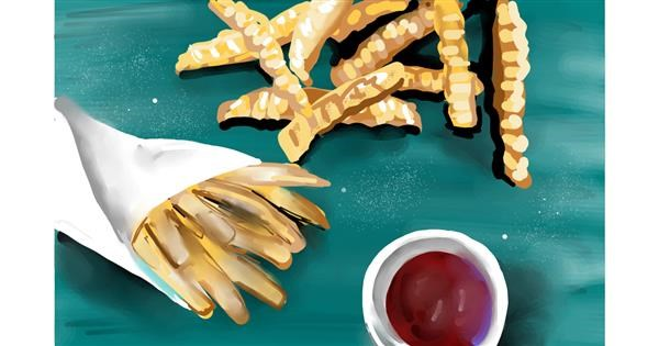 French fries drawing by Rose rocket
