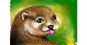 Otter drawing by Swastikaa