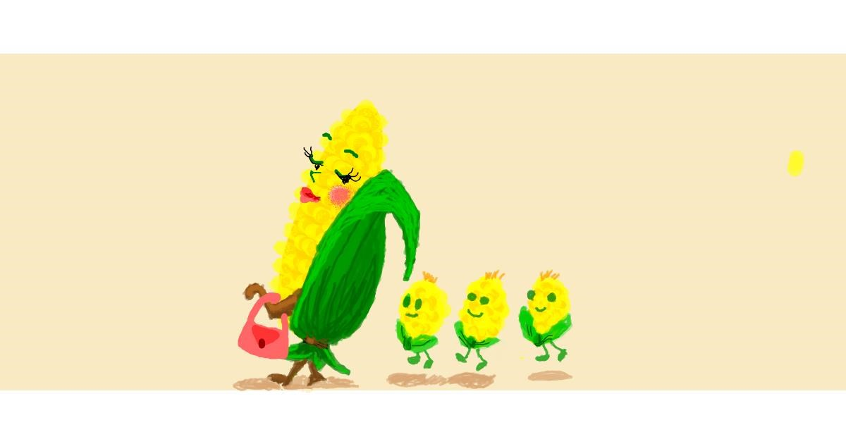 Drawing of Corn by Helena