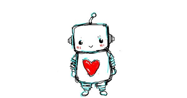 Robot drawing by puppy