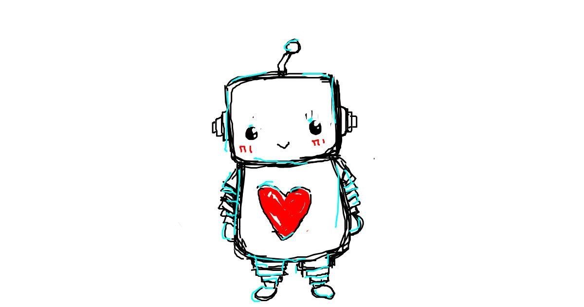 Drawing of Robot by puppy