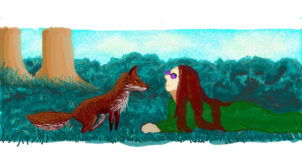 Fox drawing by Helena