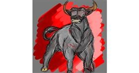 Bull drawing by Fazila