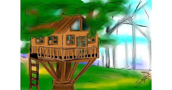 Treehouse drawing by Sophie_draw24