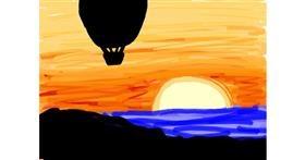 Drawing of Hot air balloon by Mackanilla