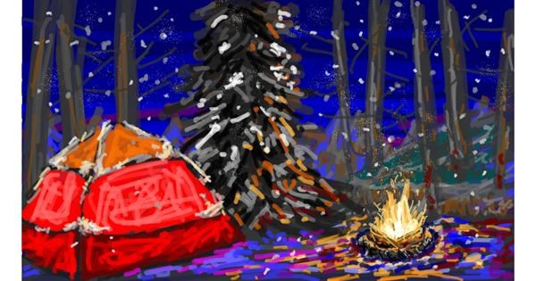 Campfire drawing by Sam