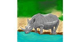 Rhino drawing by Coyote