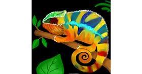 Drawing of Chameleon by Bishakha