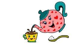 Teapot drawing by Vicki