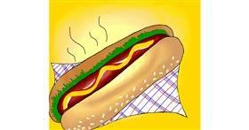 Drawing of Hotdog by Shalinee
