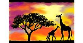 Giraffe drawing by Debidolittle