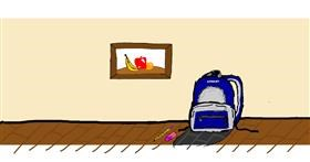 Backpack drawing by Laum