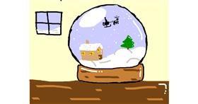 Snow globe drawing by Kitten