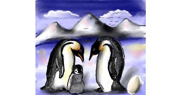 Penguin drawing by Leah