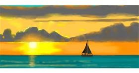 Drawing of Sunset by Pinky