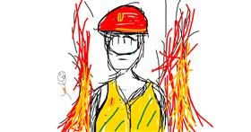 Firefighter drawing by Pong