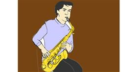 Drawing of Saxophone by Vicki