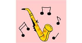 Saxophone drawing by Leni