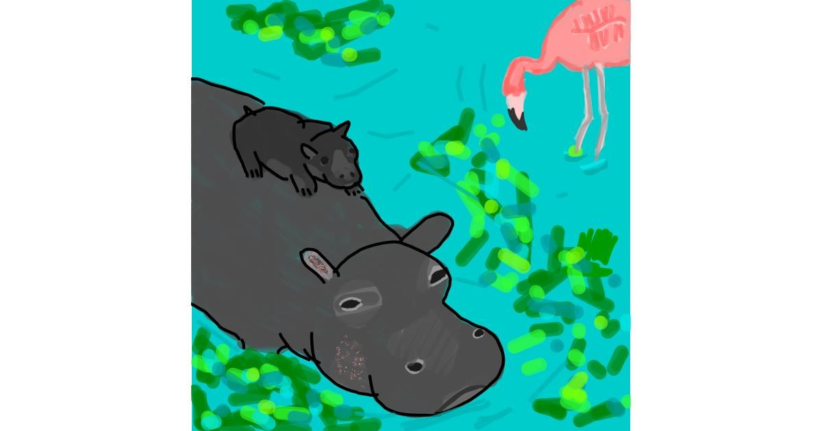 Hippo drawing by MaRi
