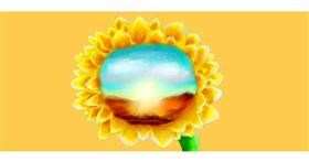 Drawing of Sunflower by Sara