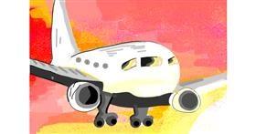 Airplane drawing by Rain