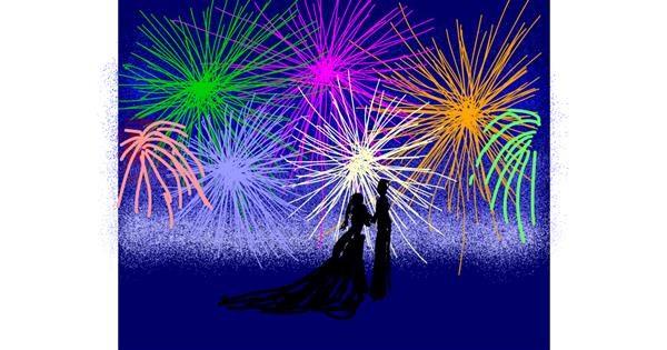 Fireworks drawing by Cherri