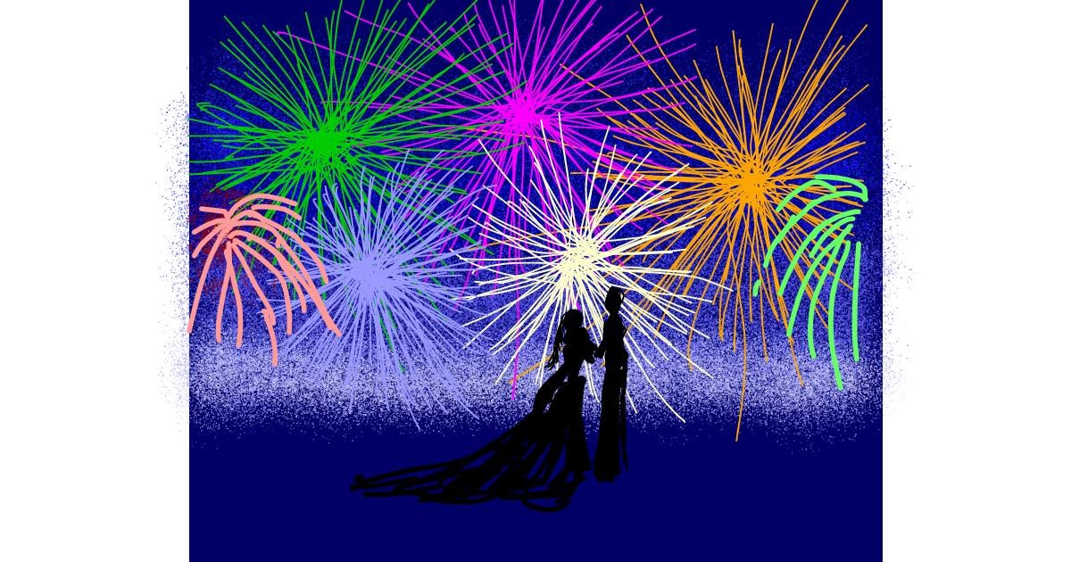 Fireworks drawing by Cherri