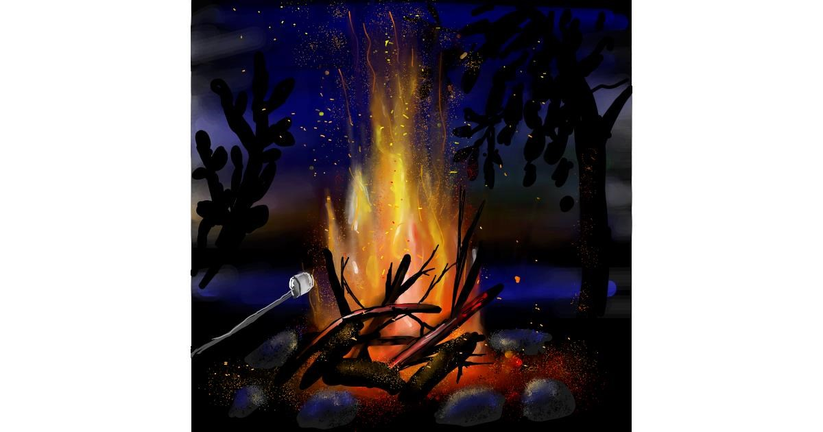 Drawing of Campfire by Leah