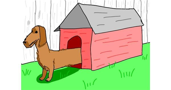 Dog house drawing by Sam