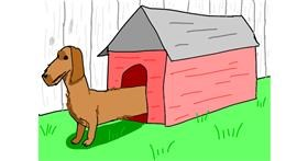 Drawing of Dog house by Sam