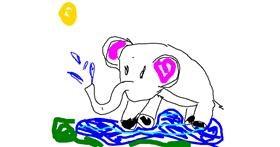 Elephant drawing by Ji-soo