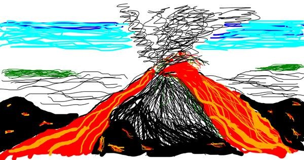 Volcano drawing by Soni