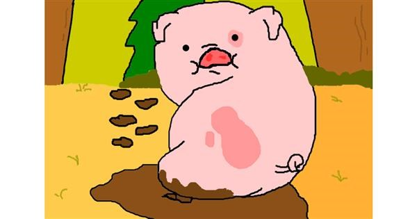 Pig drawing by ooooof👻👻👻