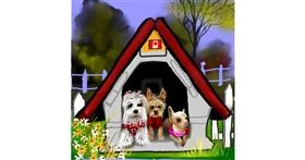 Drawing of Dog house by Leah