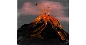 Volcano drawing by Bro
