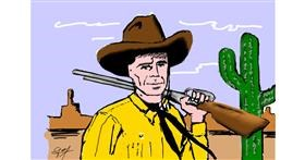 Drawing of Cowboy by Bibattole