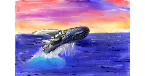 Whale drawing by Soaring Sunshine