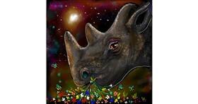 rhino drawing by Leah