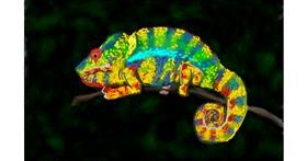 Drawing of Chameleon by Humo de copal