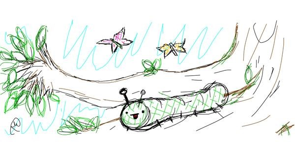 Caterpillar drawing by Rosa