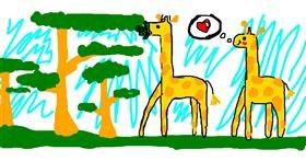 Giraffe drawing by Rosa