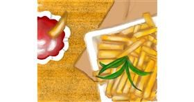 Drawing of French fries by shelly