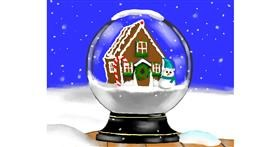 Snow globe drawing by Cec