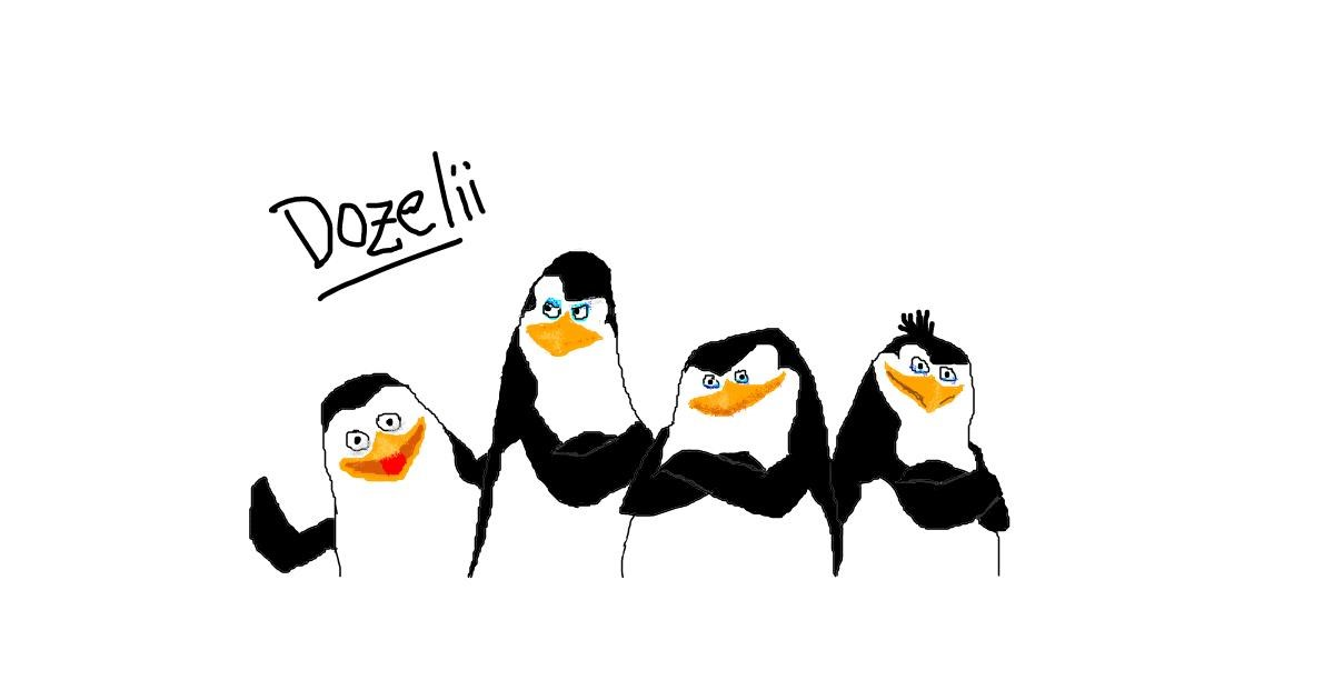 Penguin drawing by Dozelii