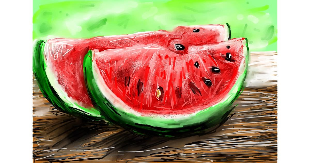 Watermelon drawing by Soaring Sunshine