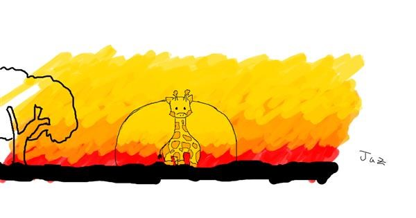 Giraffe drawing by Jaz